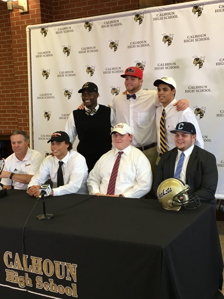 Sitting from left to right: Coach Hal Lamb, Kalean Riley, Austin Stout, and Drew MMac.Standing: Jireh Wilson, Koby Renolds and Jack Defor